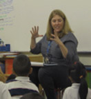 Kindergarten teacher in classroom